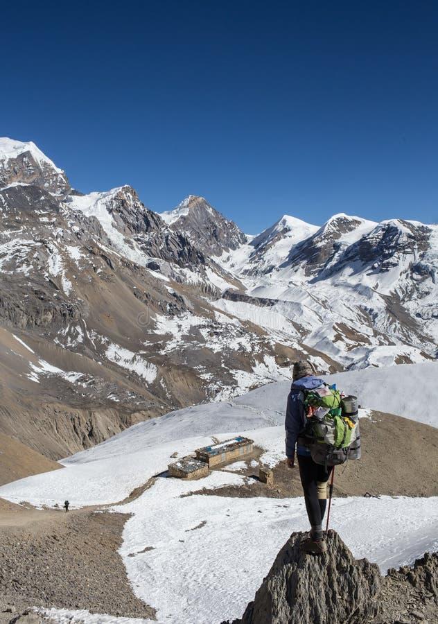 Hiker женщины на верхней части стоковое изображение rf