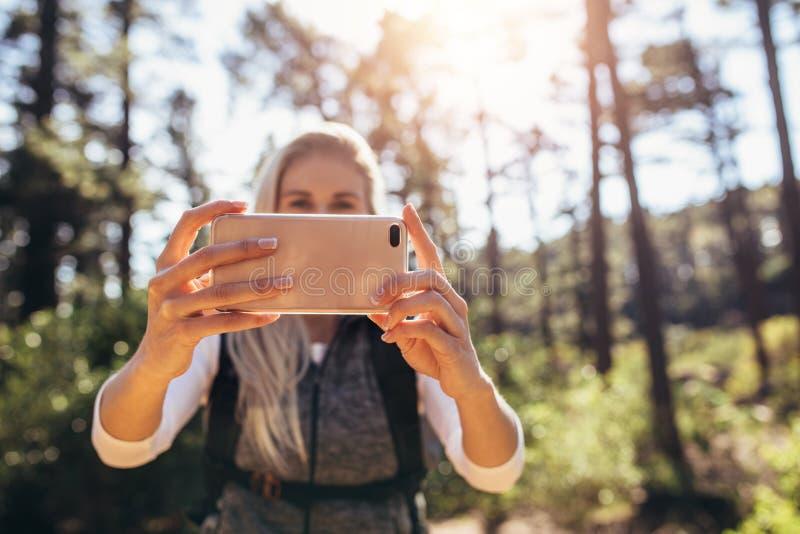 Hiker женщины принимая фотоснимок в лесе стоковые фотографии rf
