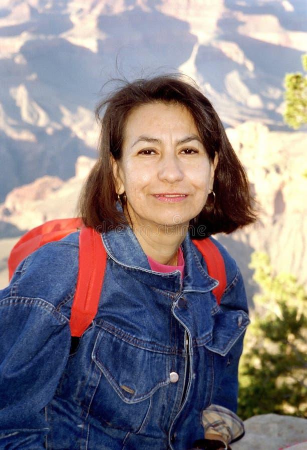 hiker каньона грандиозный стоковое изображение