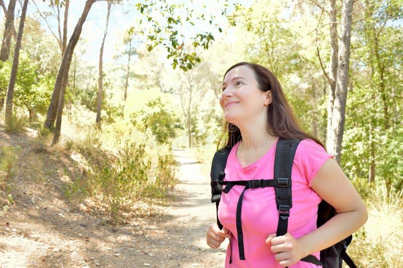 Hiker на пути горы стоковые фото