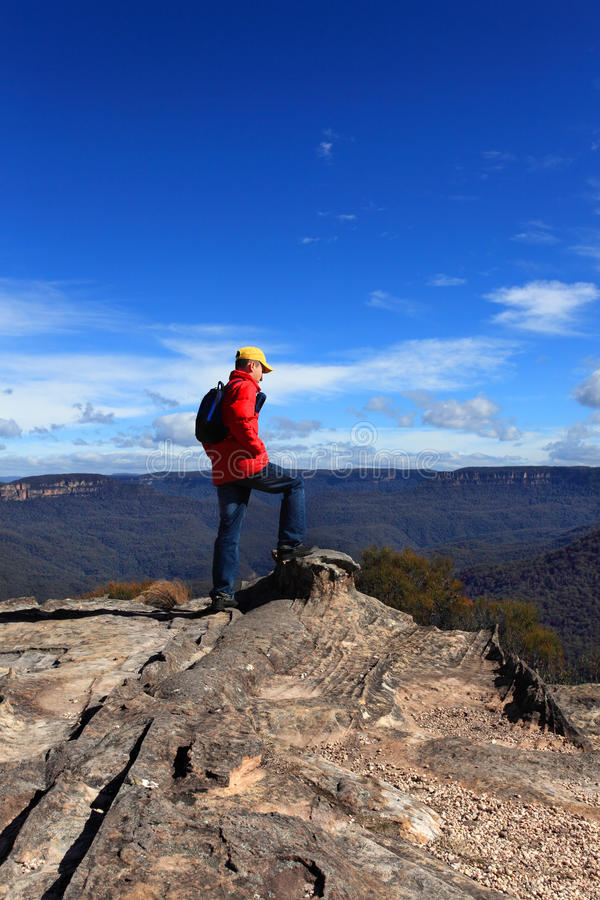 Hiker admiring mountain views royalty free stock photos
