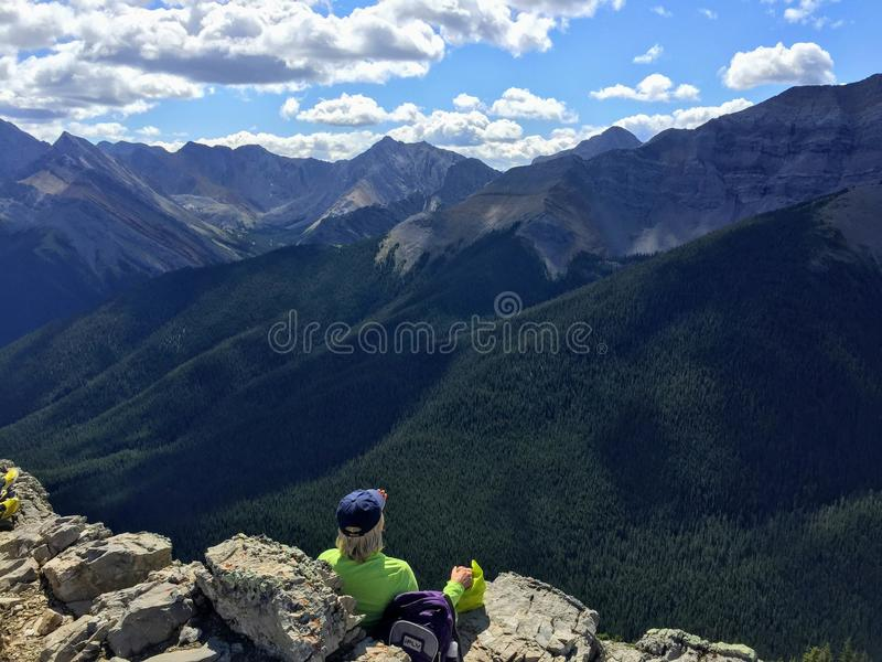 A hiker admiring the view stock image