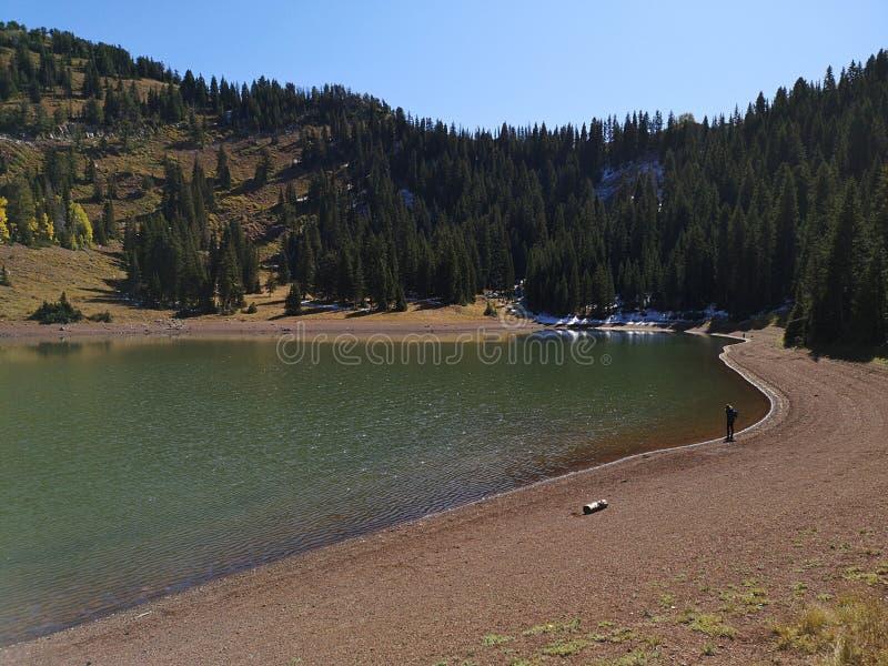 Hiker ai margini del lago di Desolazione immagini stock libere da diritti