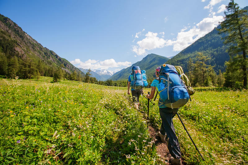 Hiker in Altai mountains, Russian Federation.  stock images