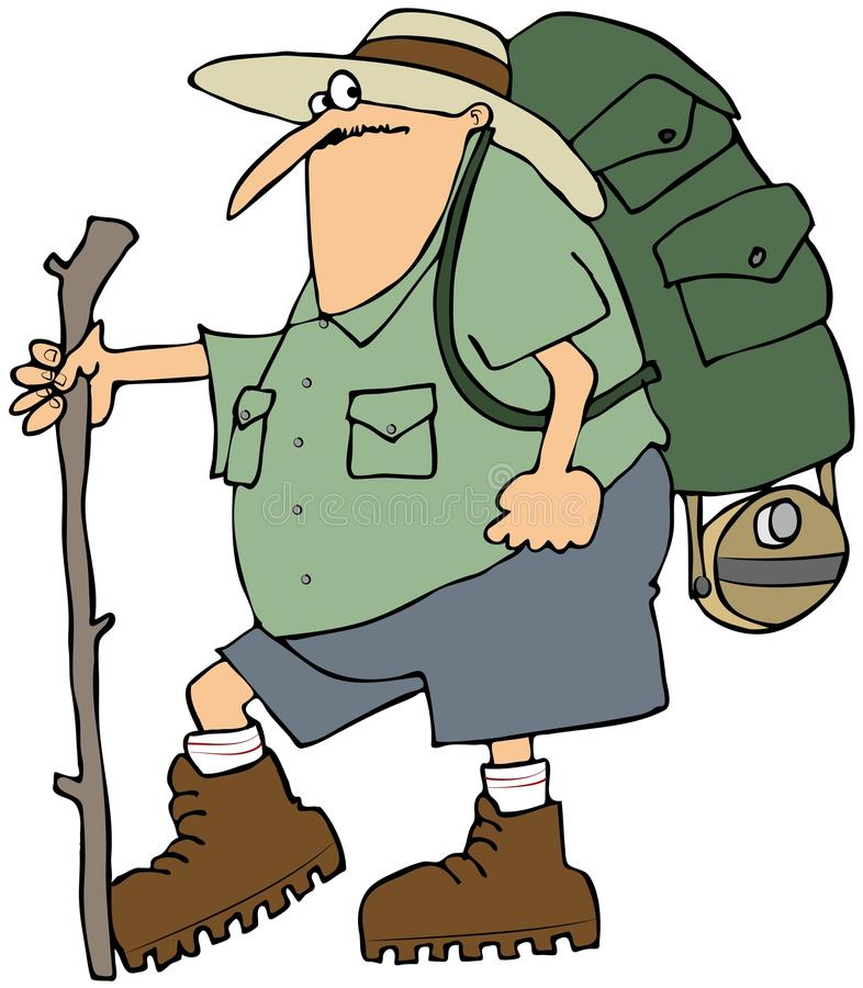 Hiker With A Backpack Stock Photos