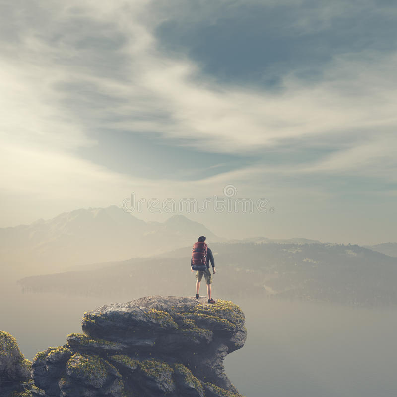 Hiker with backpack standing on top of a mountain royalty free illustration