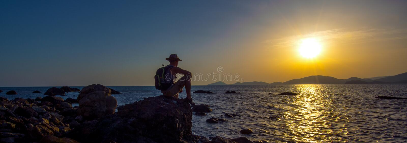 Hiker on beauty sea landscape Crimea background royalty free stock images