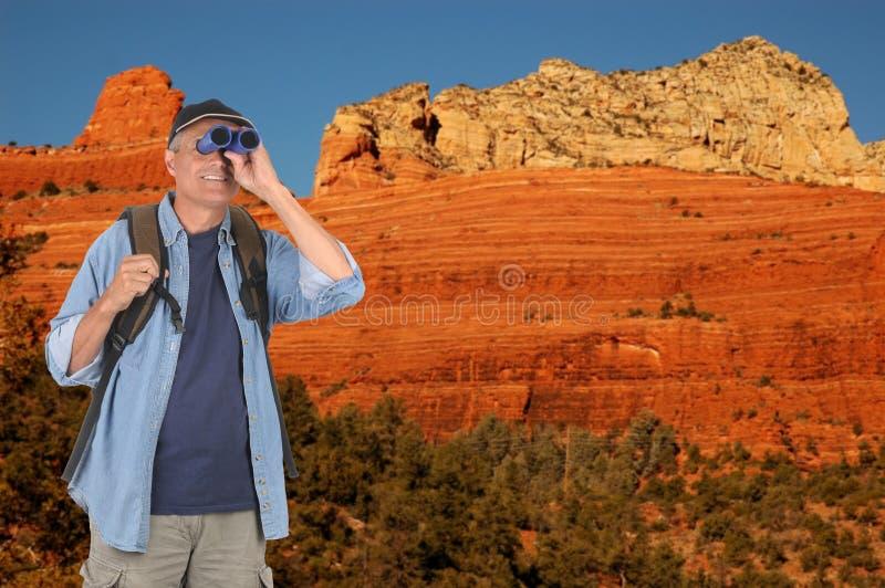 Hiker with Binoculars in Sedona stock photo