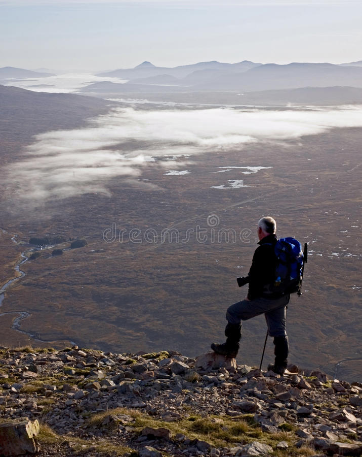 Hiker On Buachaille Etive Mor. Stock Photography