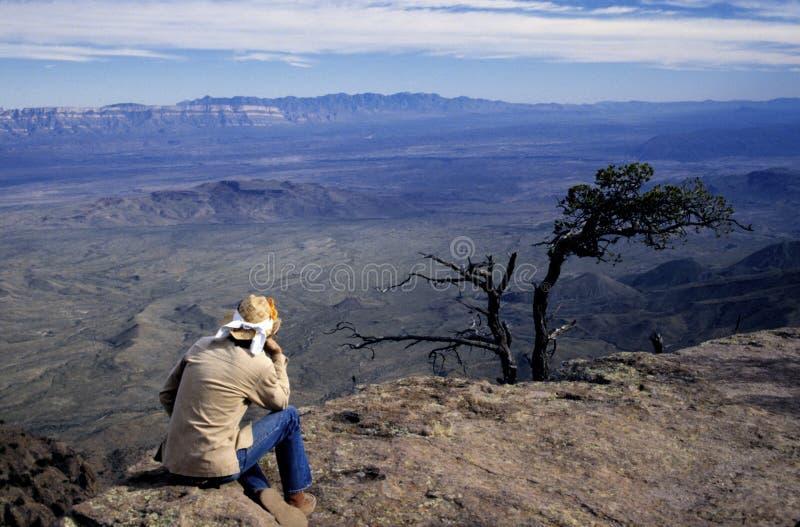 Hiker at Canyon Overlook royalty free stock photo