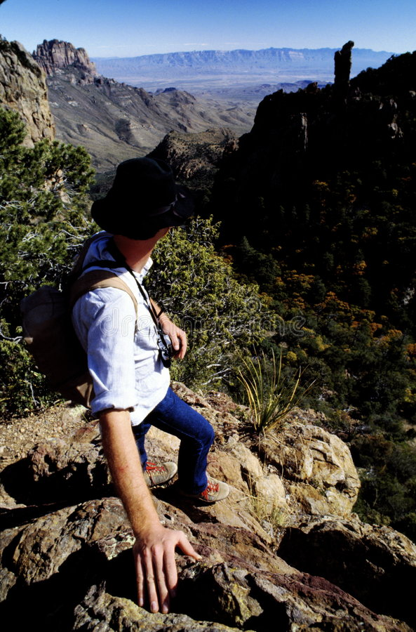 Hiker at Canyon Overlook royalty free stock images