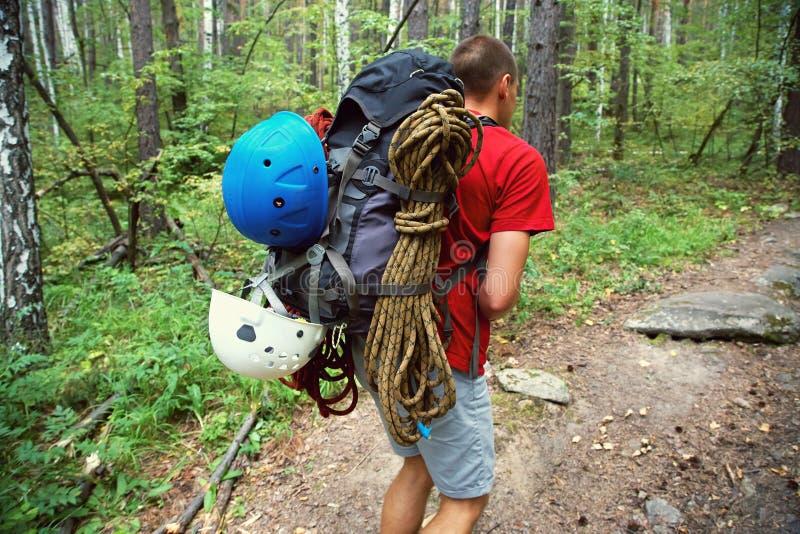 Hiker com mochila vai para uma estrada florestal imagem de stock royalty free