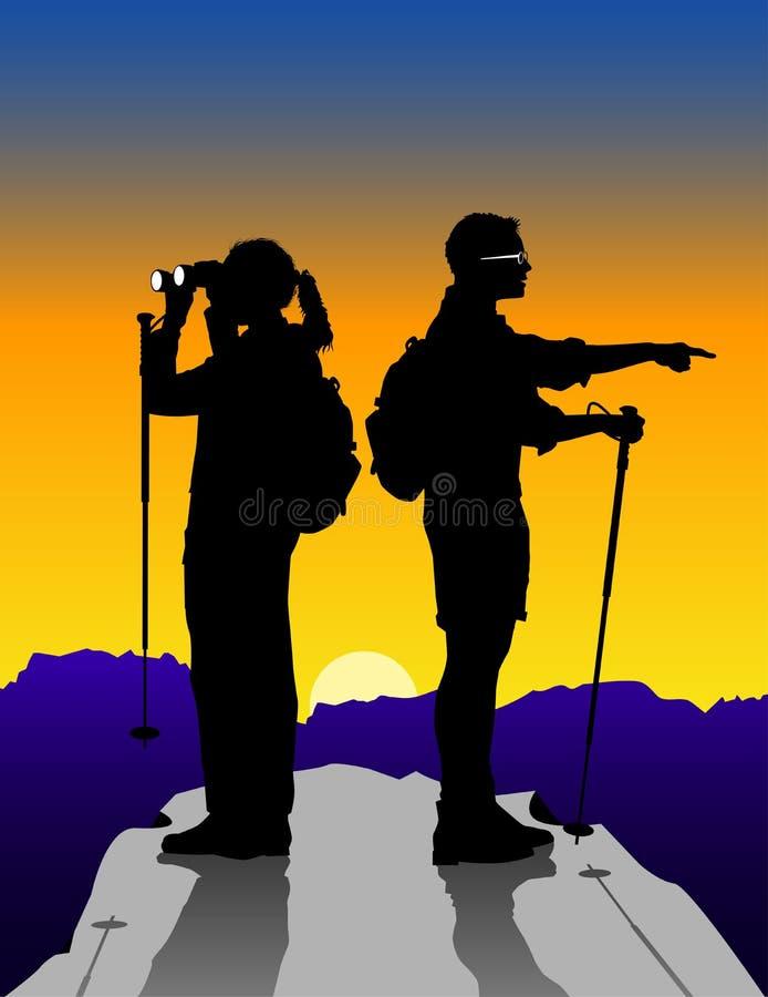 Hiker_couple royalty free illustration