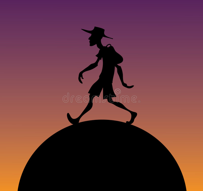 Download Hiker at dawn stock vector. Image of daybreak, black, illustration - 5083757