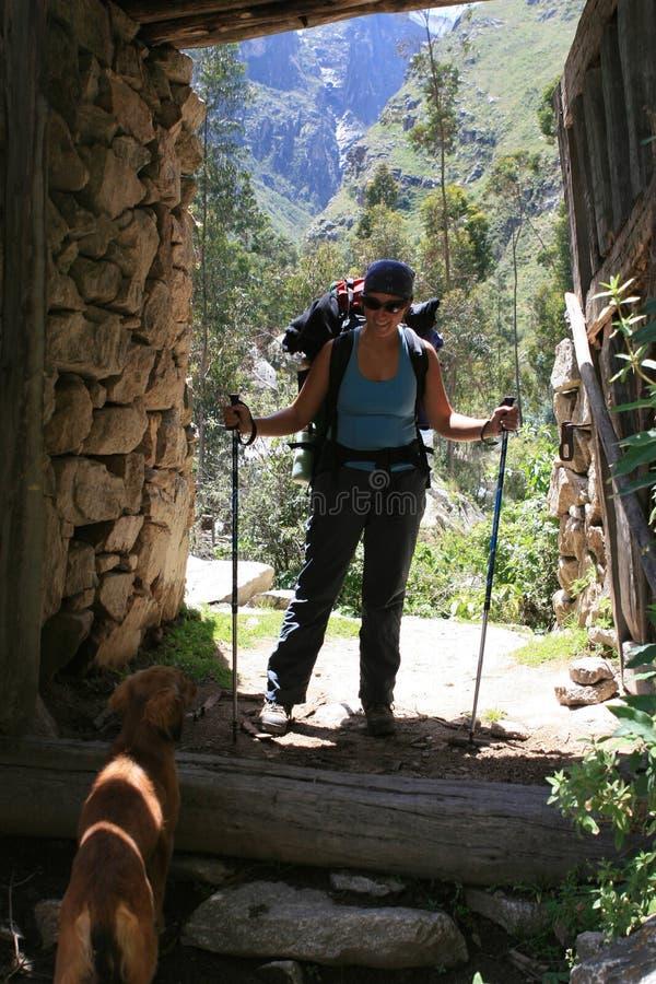 Hiker and Dog - Santa Cruz Trek - Huascaran National Park, Peru stock photo
