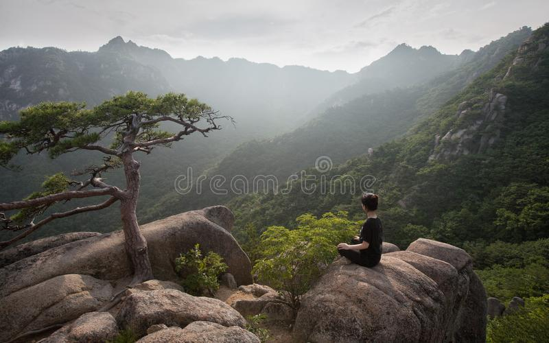 Hiker Finding Solitude in Gaya Mountain, Korea. Horizontal stock images
