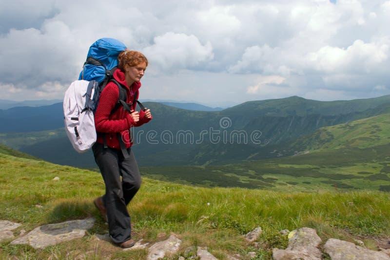 Hiker girl stock image