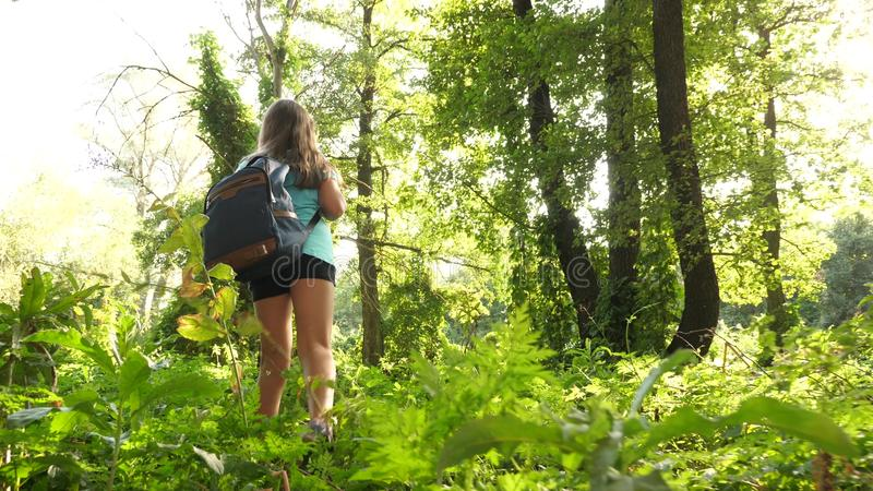 Hiker girl tourist makes his way through thicket. teenager adventures . happy girl traveler with a backpack spins in royalty free stock images