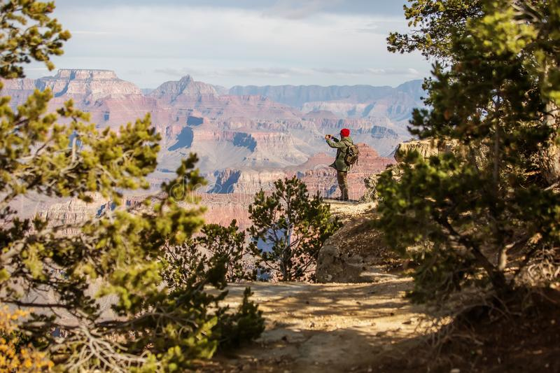 A hiker in the Grand Canyon National Park, South Rim, Arizona, USA stock image