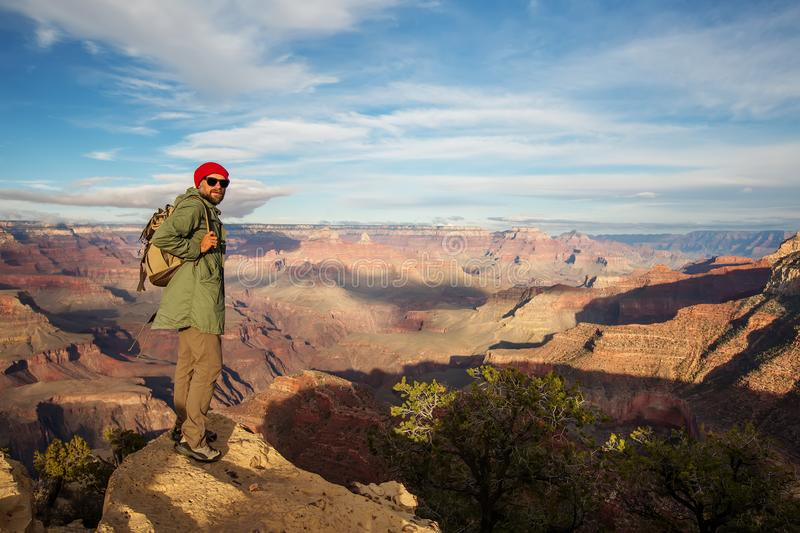 A hiker in the Grand Canyon National Park, South Rim, Arizona, USA royalty free stock images