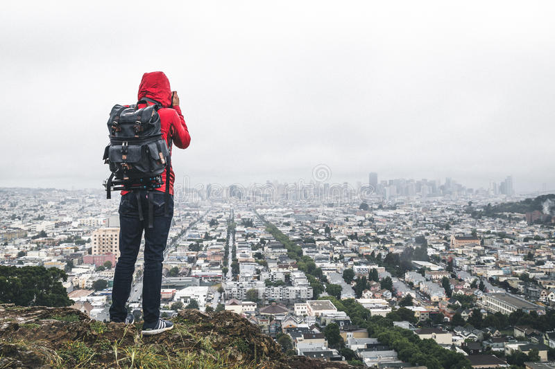 Hiker On Hill Above City Free Public Domain Cc0 Image