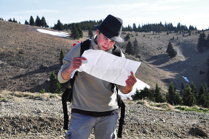 Download Hiker holding a map stock photo. Image of concept, adventure - 25166000