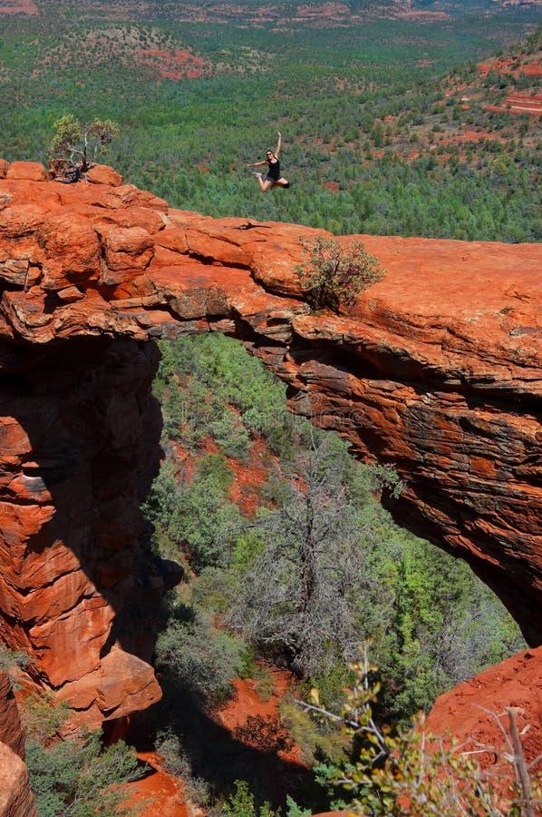 Hiker Jumping royalty free stock image