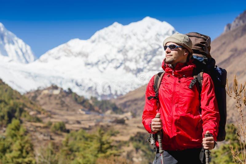 Hiker looking at the horizon royalty free stock photo