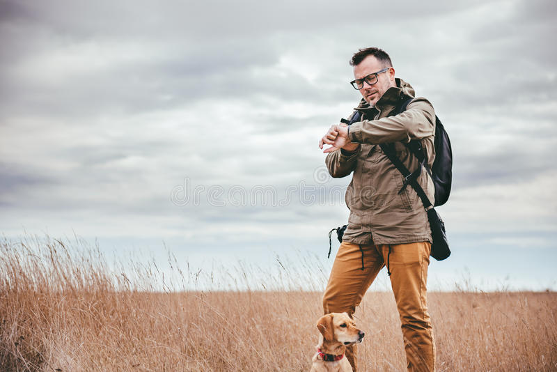 Hiker looking at watch. Hiker with dog standing in grassland and looking at watch stock images
