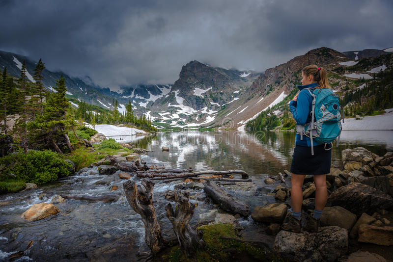 Hiker looks at Lake Isabelle Brainard Lake Recreation Area. Backpacker looks at Lake Isabelle Brainard Lake Recreation Area Colorado Tourism royalty free stock photo