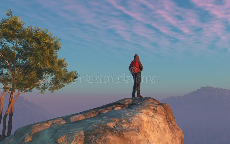 A hiker looks over the top of the mountain. royalty free illustration
