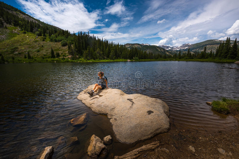Hiker at Lost Lake Colorado stock images