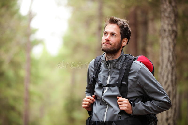 Download Hiker - Man Hiking In Forest Stock Image - Image: 20931795