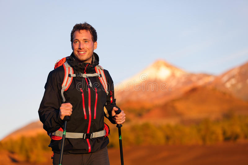 Hiker man hiking living healthy active lifestyle royalty free stock photos