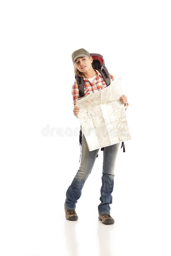 Hiker With Map Royalty Free Stock Photos