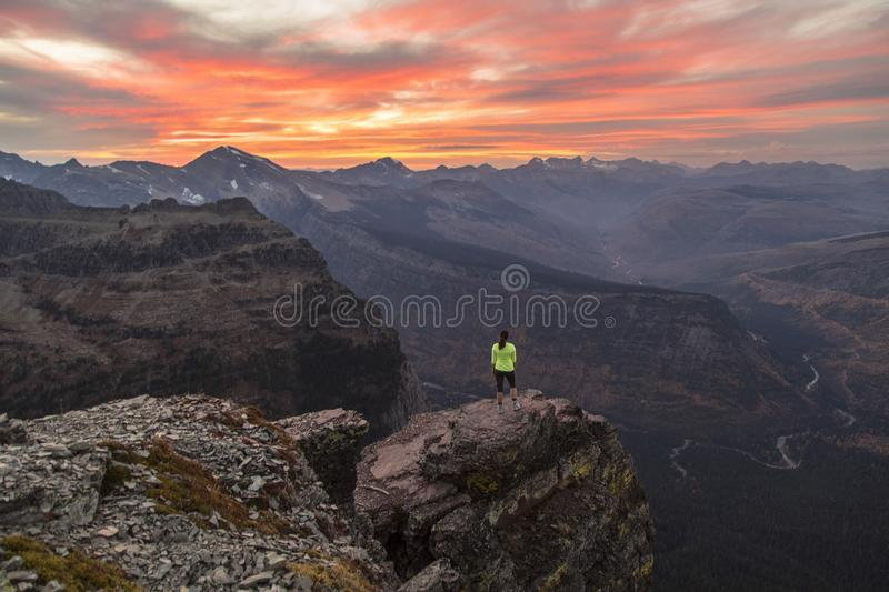 Hiker on mountain top royalty free stock photos