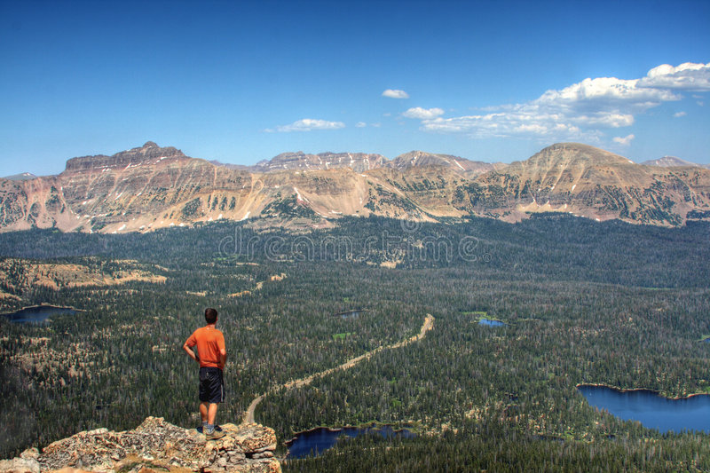 Download Hiker in mountains stock image. Image of forested, lakes - 5994687