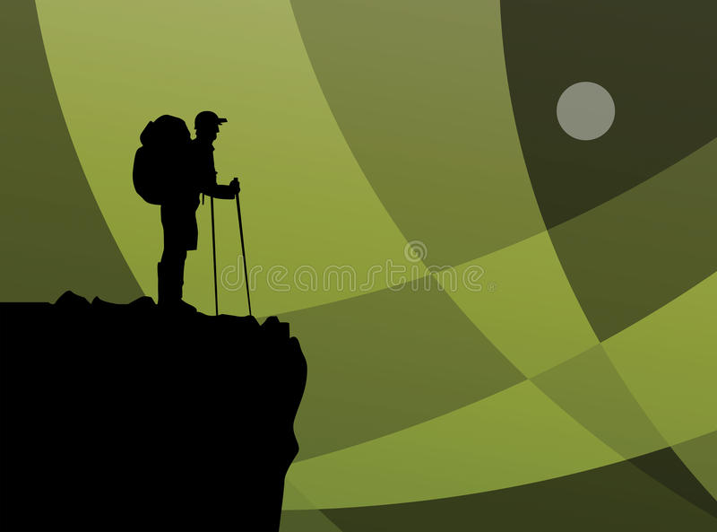 Hiker in mountains royalty free illustration