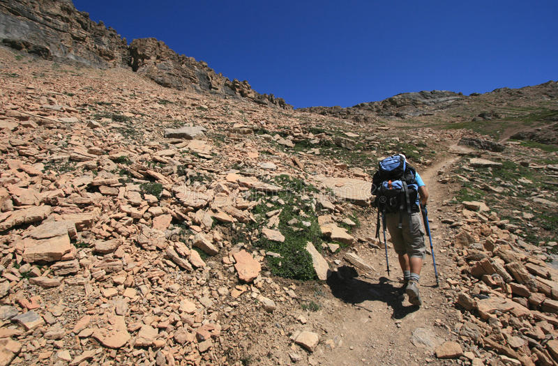 Hiker near Helen Lake royalty free stock photo