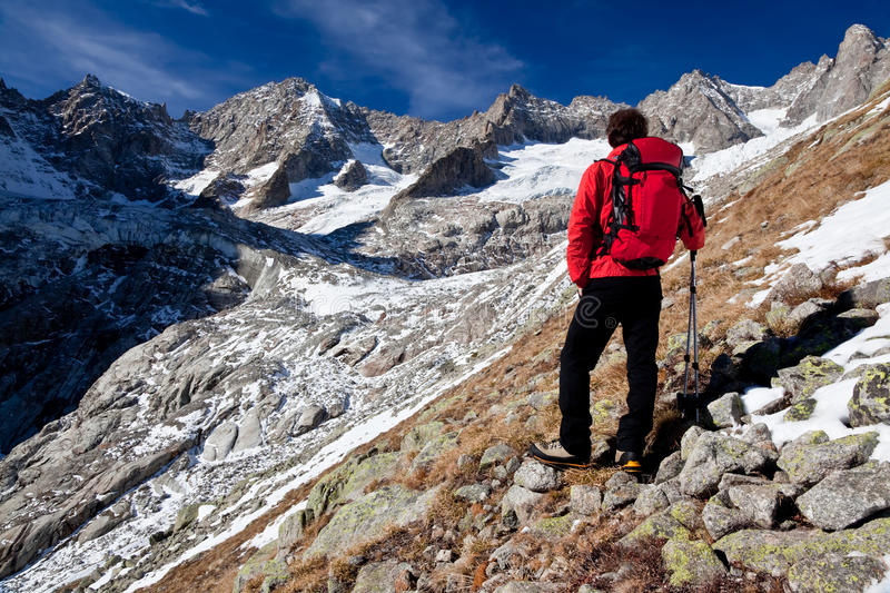 Download Hiker Observing A High Mountain Panorama Stock Photo - Image: 16910844