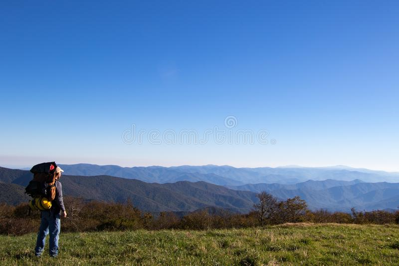 Hiker overlooking the appalachian mountains stock photography