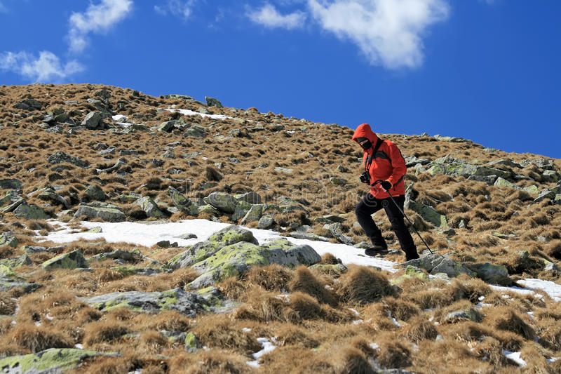 Hiker on Parang mountain stock image