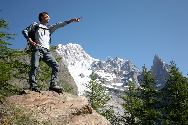 Download Hiker pointing stock photo. Image of point, male, backpacker - 5870582