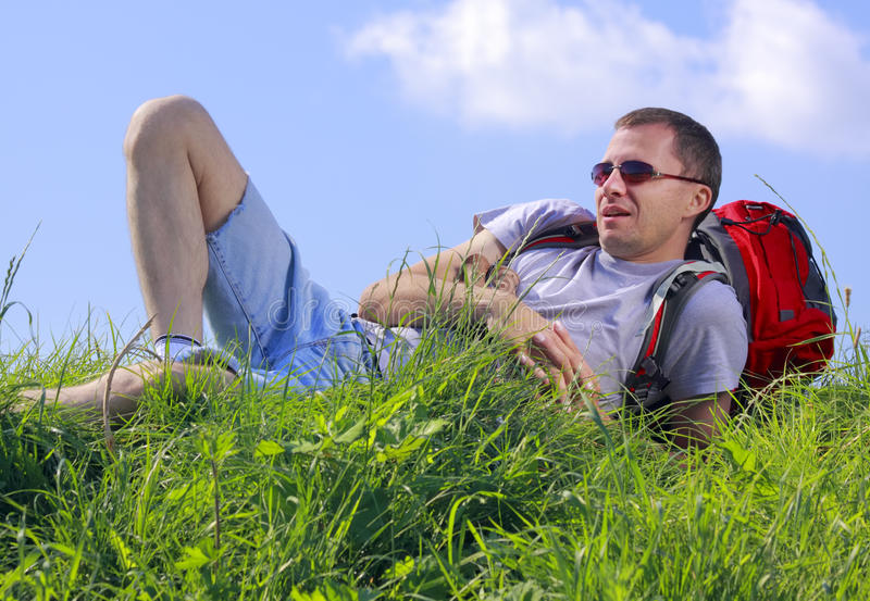 Hiker resting royalty free stock photo