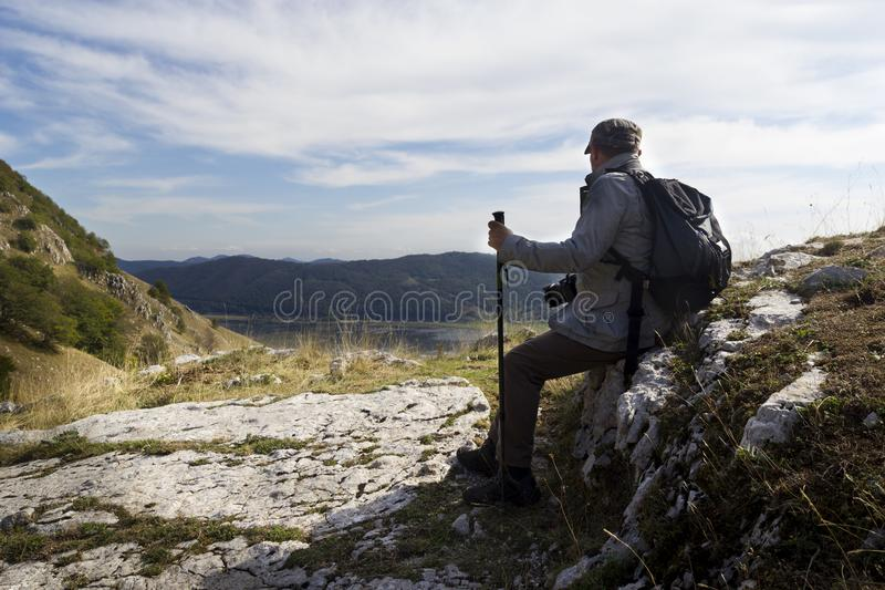 Hiker resting stock photo