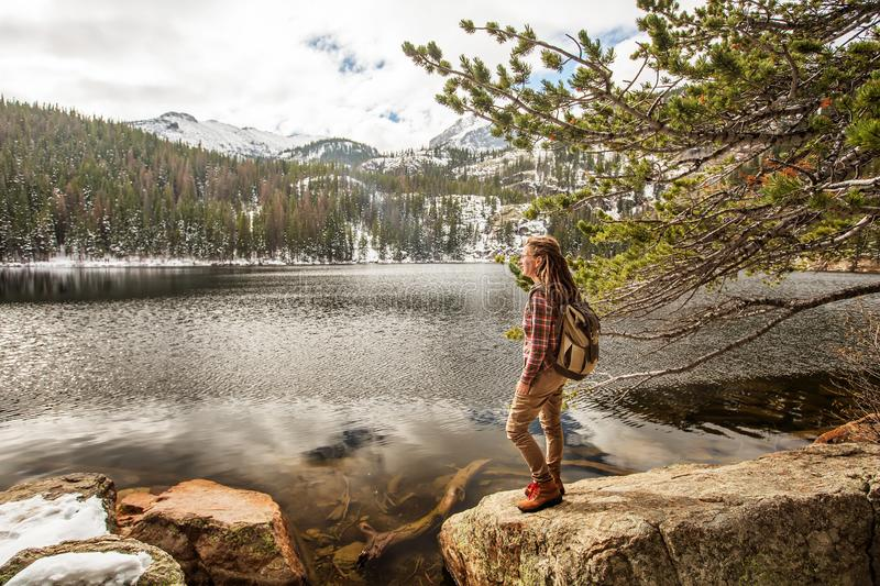 Hiker in Rocky mountains National park in USA.  stock photo