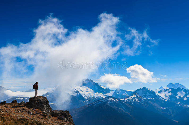 Hiker's mission accomplished royalty free stock photos