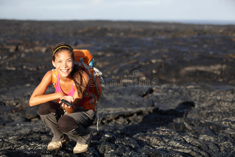 Hiker Showing Lava On Big Island, Hawaii Stock Photography