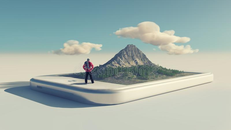 Hiker and a smartphone with a 3d mountain royalty free stock images