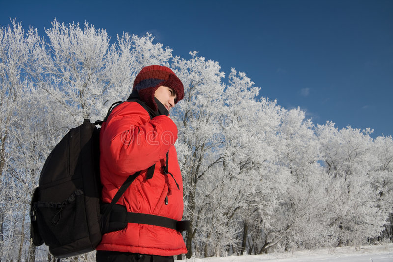 Download Hiker on the snowh stock image. Image of landscape, activity - 7656283